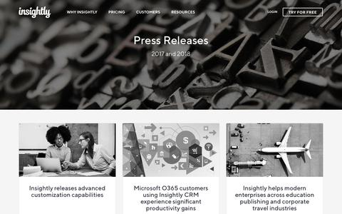 Screenshot of Press Page insightly.com - Press Releases   Insightly - captured Oct. 9, 2018