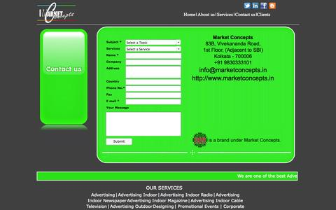 Screenshot of Contact Page marketconcepts.in - Contact Us - Best Advertising Agencies - captured Oct. 27, 2014