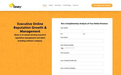 Screenshot of Home Page qnary.com - Qnary – Executive Reputation Management & Talent Branding Solutions - captured Feb. 6, 2020