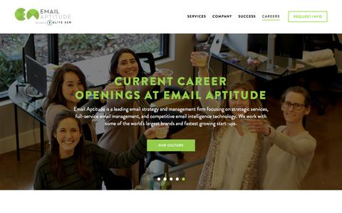 Screenshot of Jobs Page emailaptitude.com - Careers in Email Marketing, Email Aptitude - captured July 18, 2018