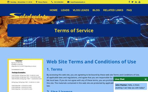Screenshot of Terms Page salesleads.tv - Terms of Service - captured Nov. 12, 2018