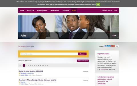 Screenshot of Jobs Page astrazenecacareers.com - Jobs - AstraZeneca Careers - captured July 2, 2016