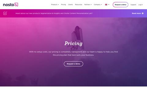Screenshot of Pricing Page nosto.com - Pricing - Nosto - captured Sept. 12, 2018