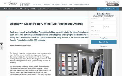 Screenshot of Blog closetfactory.com - Allentown Closet Factory Wins Two Prestigious Awards | Closet Factory - captured Jan. 4, 2020