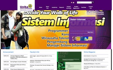 Screenshot of Home Page unika.ac.id - Unika Soegijapranata Website - captured Sept. 19, 2014