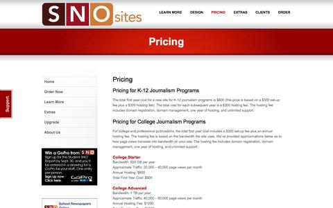 Screenshot of Pricing Page schoolnewspapersonline.com - Pricing   School Newspapers Online - captured Sept. 29, 2014