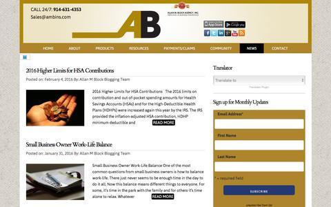 Screenshot of Press Page ambins.com - Allan M Block Agency official Blog News - captured Feb. 5, 2016