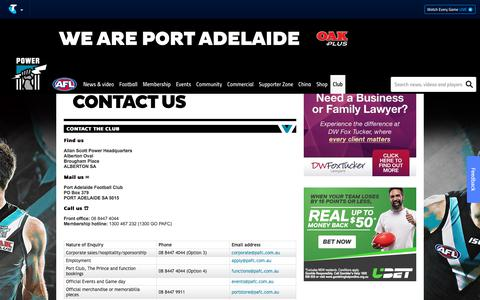Screenshot of Contact Page portadelaidefc.com.au - Contact Us - portadelaidefc.com.au - captured Sept. 23, 2018
