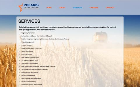 Screenshot of Services Page polariseng.com - Polaris Engineering Ltd. - Services - captured Nov. 8, 2016