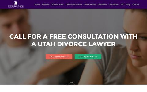 Screenshot of Home Page utahdivorcehotline.com - Utah Divorce Lawyer - Family Law Attorney and Mediation - captured Aug. 12, 2016