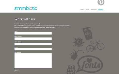 Screenshot of Contact Page simmbiotic.com - Work with us | web design, graphic design, branding, event management, Southampton, Hampshire – Simmbiotic 01489 786121 - captured Oct. 26, 2014