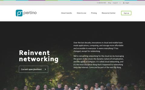 Screenshot of Jobs Page pertino.com - IT & Tech Careers in Los Gatos, CA | Pertino - captured July 19, 2014