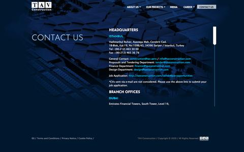 Screenshot of Contact Page tavconstruction.com - TAV Construction  | Contact Us - captured Feb. 15, 2020