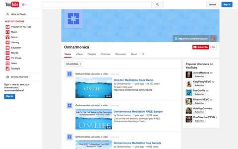 Screenshot of YouTube Page youtube.com - Omharmonics  - YouTube - captured Oct. 31, 2014