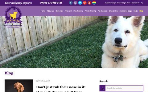 Screenshot of Blog positiveresponse.com.au - Blog Entries - Positive Response Dog Training Brisbane - captured Oct. 22, 2018