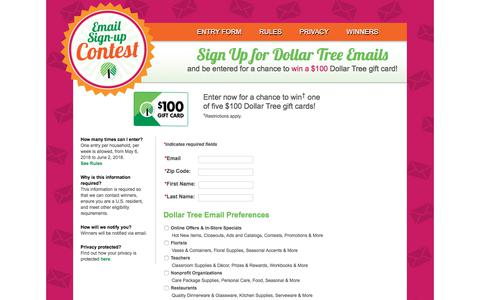 Screenshot of Signup Page dollartree.com - Dollar Tree Email Contest - Winners Circle - captured May 7, 2018