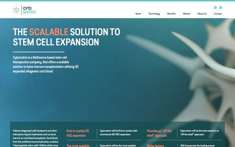 Screenshot of Home Page cytomatrix.com.au - Cytomatrix - The Scalable Solution to Stem Cell Expansions - captured Jan. 23, 2015