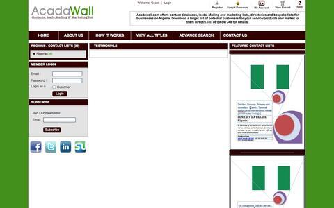 Screenshot of Testimonials Page acadawall.com - Acadawall | Global Higher Education Reference | Testimonials - captured Oct. 4, 2014