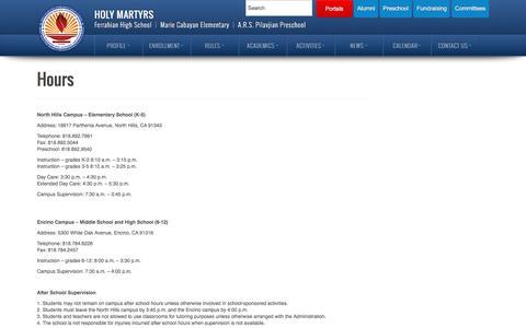 Screenshot of Hours Page ferrahian.com - Hours   Holy Martyrs - captured June 14, 2016