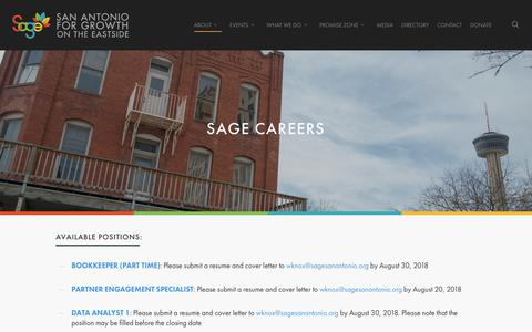Screenshot of Jobs Page sagesanantonio.org - SAGE Careers - SAGE San Antonio - captured Oct. 1, 2018