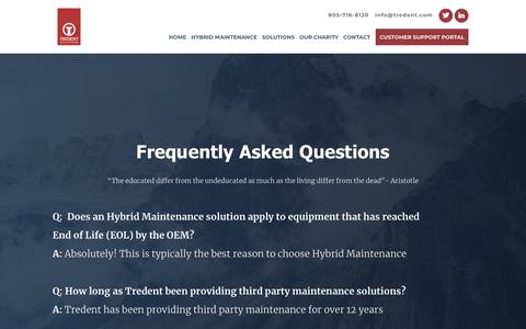 Screenshot of FAQ Page tredent.com - FAQs - captured Oct. 20, 2018