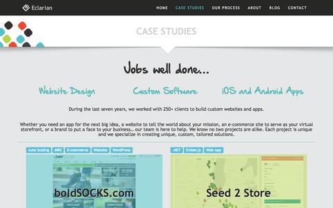Screenshot of Case Studies Page eclarian.com - Case Studies | Eclarian - captured July 16, 2018