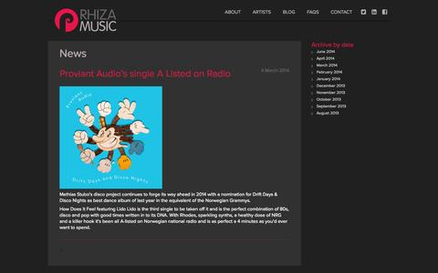 Screenshot of Press Page rhizamusic.com - News | Rhiza Music - captured Oct. 26, 2014