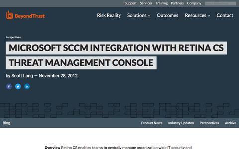 Screenshot of Team Page beyondtrust.com - Microsoft SCCM Integration with Retina CS Threat Management Console | BeyondTrust - captured Jan. 3, 2020