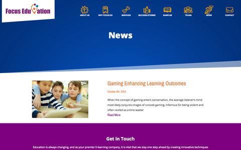 Screenshot of Press Page focuseduvation.com - e-Learning News and Innovations - Focus EduVation - captured Oct. 29, 2014