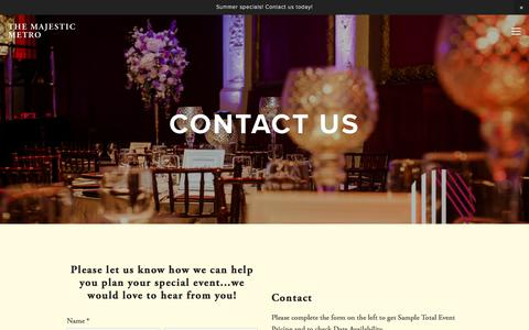 Screenshot of Contact Page majesticmetro.com - Contact — The Majestic Metro - captured July 1, 2018