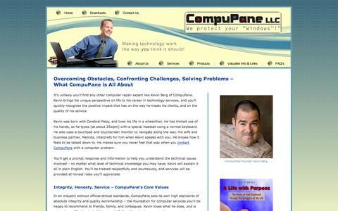 Screenshot of About Page compupane.net - Computer Repair and Computer Services - Kevin Berg's Story - captured Sept. 30, 2014