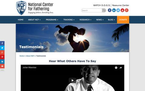 Screenshot of Testimonials Page fathers.com - Testimonials | National Center for Fathering - captured Oct. 23, 2017