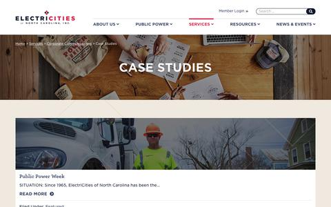 Screenshot of Case Studies Page electricities.com - Case Studies - ElectriCities - captured Nov. 10, 2018