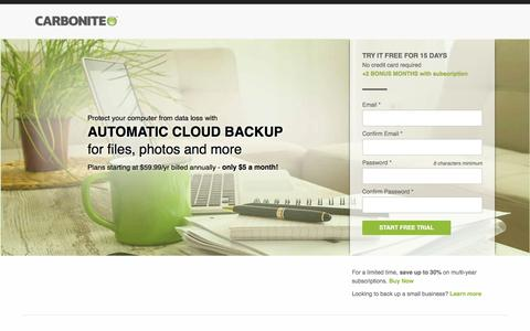Screenshot of Landing Page carbonite.com - Carbonite automatic cloud backup | Try it free today - captured April 14, 2016