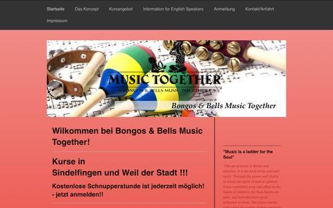 Screenshot of Home Page bongos-bells-mt.de - Bongos & Bells Music Together bietet frühkindliche musikalische Erziehung für Kinder von 0 bis 5 Jahren! - captured Sept. 13, 2015
