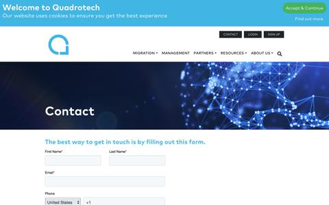 Screenshot of Contact Page Pricing Page quadrotech-it.com - Contact - Quadrotech - captured Jan. 4, 2020