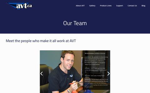 Screenshot of Team Page avt.ca - Our Team - AVT - captured Feb. 5, 2016