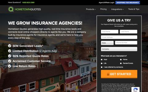 Screenshot of Home Page hometownquotes.com - Insurance Leads | Hometown Quotes - Honest Trusted Quality - captured Jan. 12, 2018