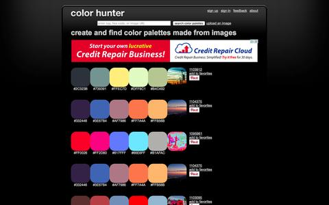 Screenshot of Home Page colorhunter.com - Color Hunter - captured Sept. 19, 2014