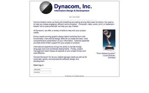 Screenshot of Home Page dcom.tv - Welcome to Dynacom Inc. - captured Oct. 5, 2014