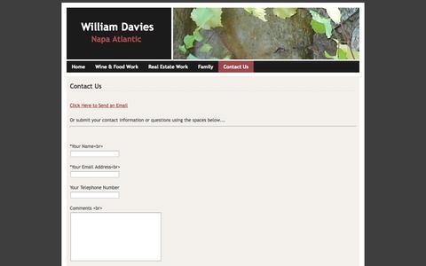 Screenshot of Contact Page webs.com - Contact Us - William Davies - captured Sept. 13, 2014