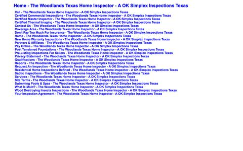 Screenshot of Site Map Page aoksimplexinspections.com - Sitemap - captured Oct. 2, 2014