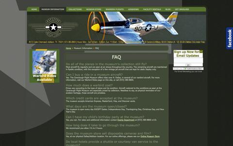 Screenshot of FAQ Page cavanaughflightmuseum.com - FAQ - captured Oct. 2, 2014