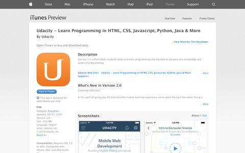 Screenshot of iOS App Page apple.com - Udacity - Learn Programming in HTML, CSS, Javascript, Python, Java & More on the App Store on iTunes - captured Oct. 22, 2014