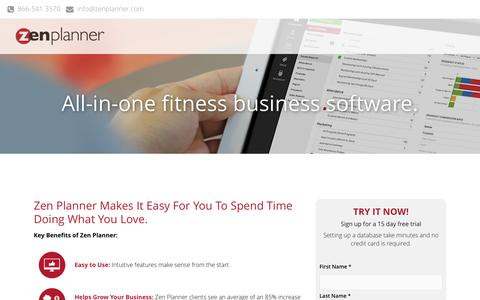 Screenshot of Trial Page zenplanner.com - Online Fitness Software Free Trial | Zen Planner - captured July 3, 2015