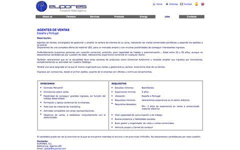 Screenshot of Jobs Page eupores.com - EUPORES - European Sales Agency - captured Oct. 1, 2014