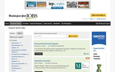 Screenshot of Jobs Page washingtonpost.com - Browse jobs | Washington Post Jobs - captured Feb. 14, 2017