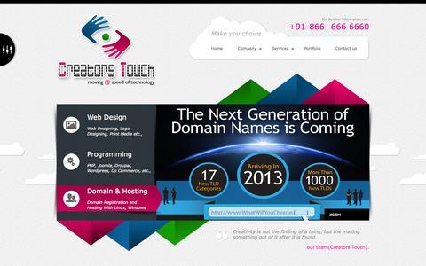 Screenshot of Home Page creatorstouchglobal.com - ::Creators Touch  NO.1 Website Designing Company In Vijayawada::  WEBSITE DESIGNING, DEVELOPMENT IN VIZAG, VISAKHAPATNAM,RAJAHAMNDRY,KAKINADA,VIJAYAWADA,VIJAYANAGARAM webdesigning company in vijayawada   webdesigning company guntur   web designing in - captured Oct. 1, 2014