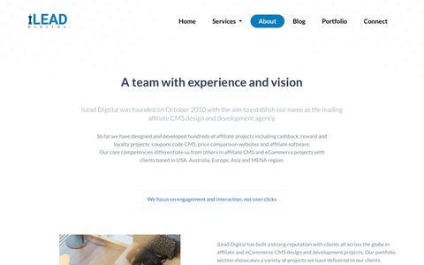 Screenshot of About Page ileaddigital.com - iLead Digital | Affiliate Marketing CMS & eCommerce Web Design and Development Agency - captured March 20, 2018