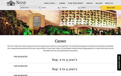 Screenshot of Jobs Page sayajihotels.com - Sayaji Hotels - Official Website - captured Sept. 22, 2018